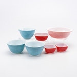 Mid Century Pyrex Pink Cinderella Bowl, Blue Mixing Bowls and More
