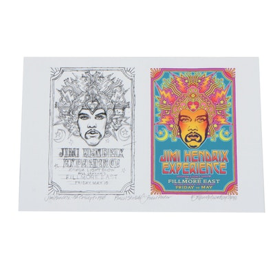 David Edward Byrd Giclée Jimi Hendrix Poster and Sketch Concept