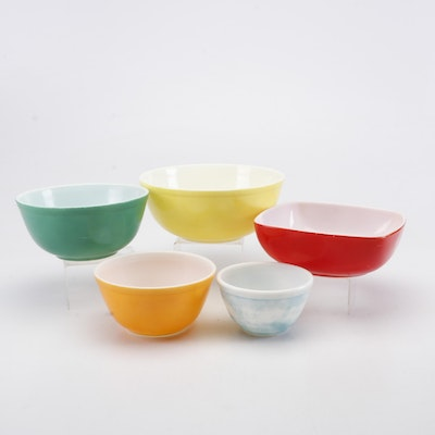 """Pyrex """"Primary Colors"""" Nested Mixing Bowls and Square Bowl, Mid-Century"""
