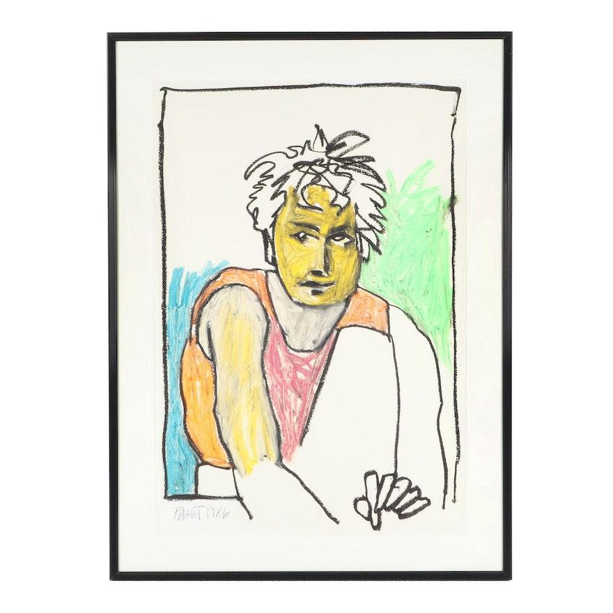 1986 Pastel Drawing of Stylized Portrait