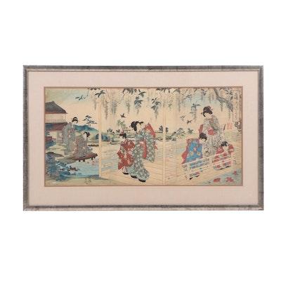 Toyohara Chikanobu Ukiyo-e Woodblock Triptych