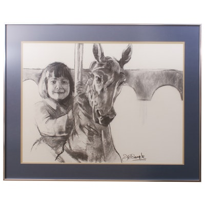 J.E. Sample Charcoal Drawing of Child on Carousel