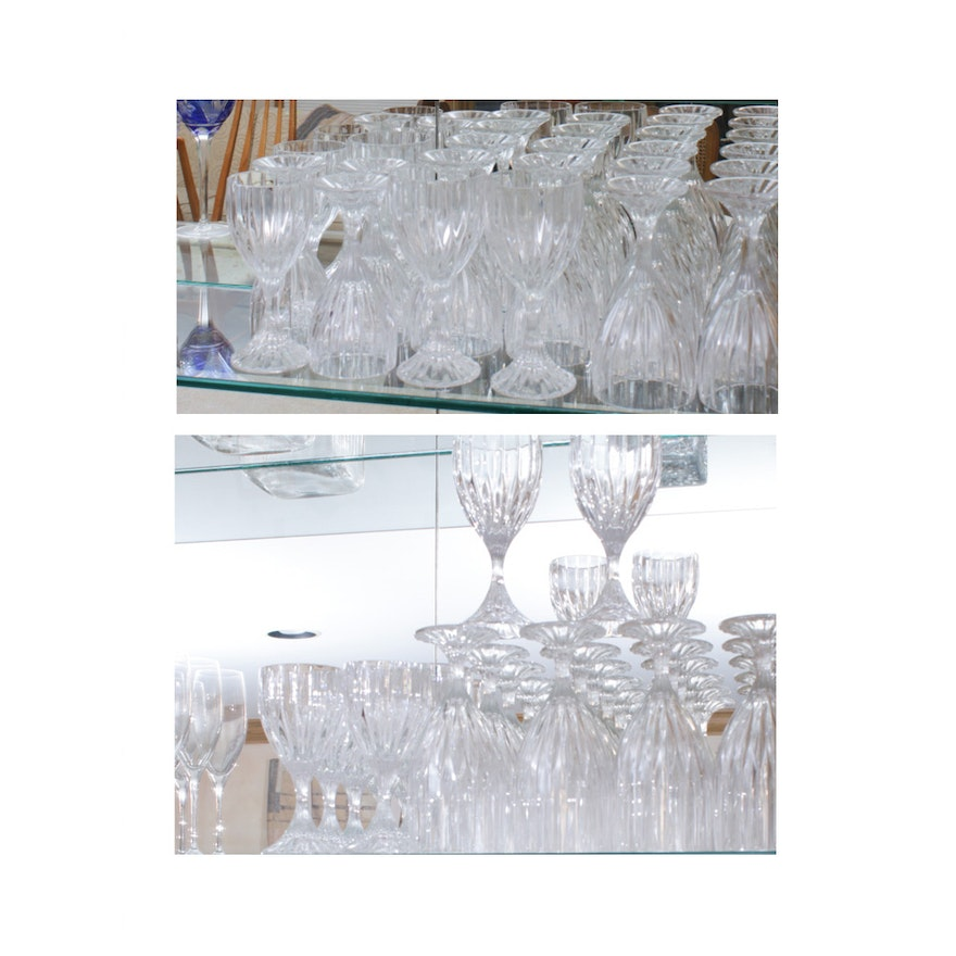 """Mikasa """"Park Lane"""" Crystal Water Goblets and Wine Glasses"""