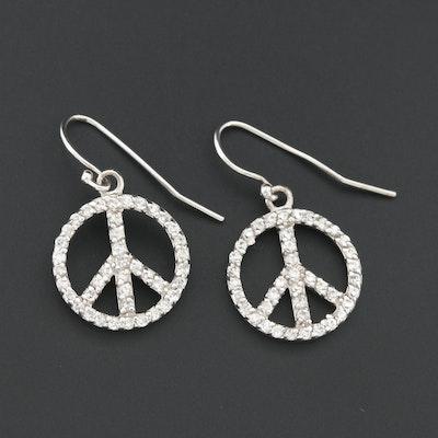 "Sterling Silver Glass ""Peace Sign"" Drop Earrings"