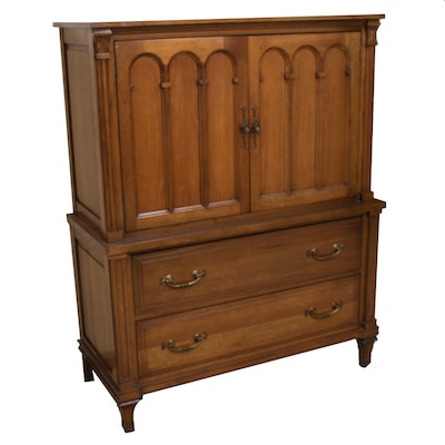 Davis Cabinet Company Hardwood Armoire, Mid to Late 20th Century