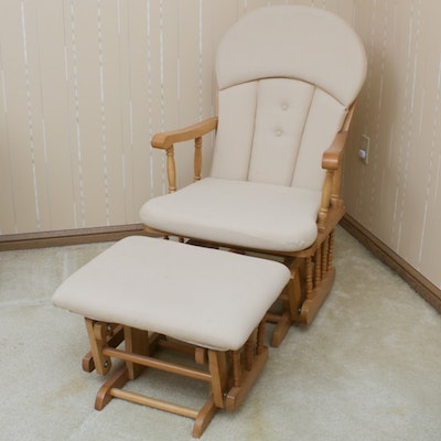 Hardwood Gliding Rocking Chair and Footstool