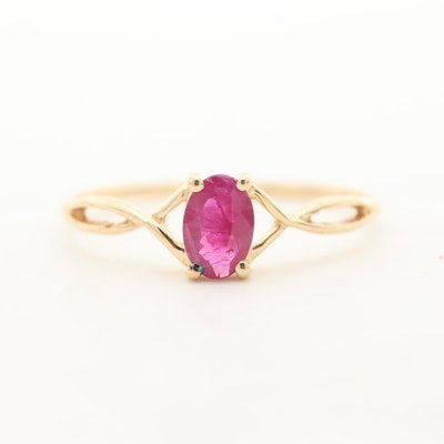 14K Yellow Gold Ruby Solitaire Ring