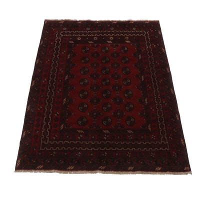 5'0 x 6'8 Hand-Knotted Afghani Turkoman Rug