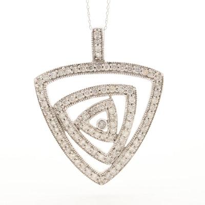 14K White Gold 1.20 CTW Diamond Geometric Pendant Necklace