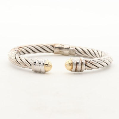 Sterling Silver Twisted Cable Hinged Cuff with 14K Gold Accents