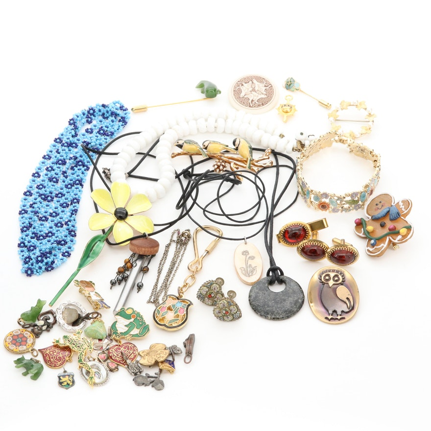 Jewelry Featuring Krementz, Sandor, Nephrite, Tiger's Eye and Bone
