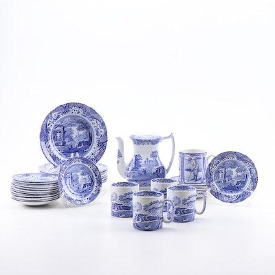 "Spode ""Blue Italian"" Ceramic Dinnerware, Mugs, and Coffee Pot, Contemporary"