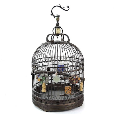 Chinese Bird Cage with Porcelain Feeders
