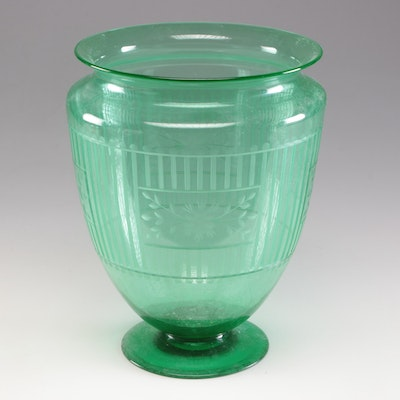 Etched Crater Form Glass Vase