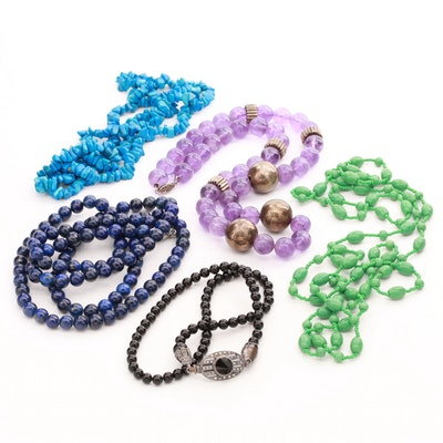 Beaded Necklace Grouping Including Sterling, Amethyst, Lapis Lazuli and More