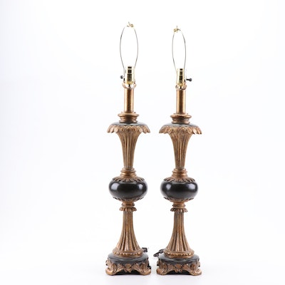 Neoclassical Style Metal and Composite Table Lamps