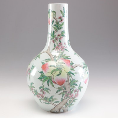 Chinese Peach Motif Ceramic Vase