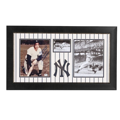 Joe Dimaggio Autographed Photo in Framed and Matted New York Yankees Display