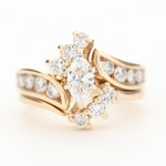 14K Yellow Gold 1.37 CTW Diamond Bypass Ring Set