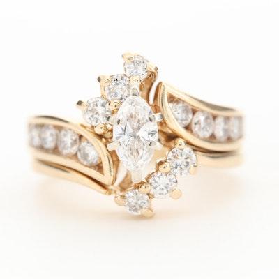 14K Yellow Gold 1.37 CTW Diamond Bypass Ring Set