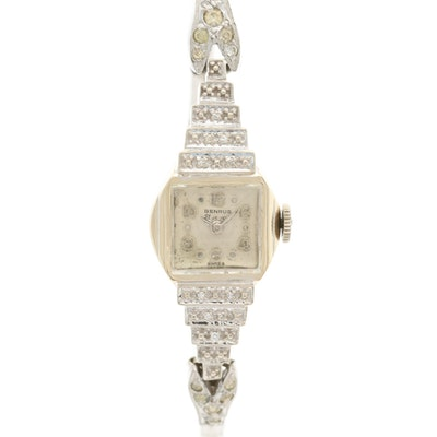 Benrus 14K Gold and Diamond Stem Wind Wristwatch