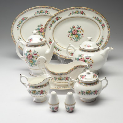 "Coalport Bone China ""Ming Rose"" Serving Pieces Including Shakers and Gravy Boat"