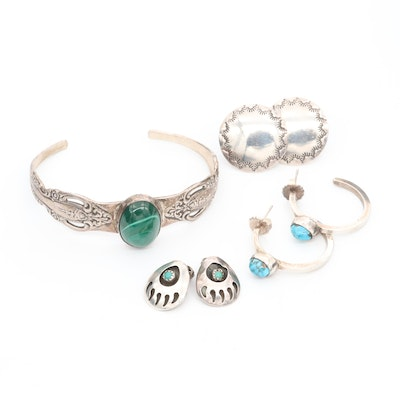 Sterling Silver Turquoise and Malachite Jewelry Featuring Oneida Bracelet