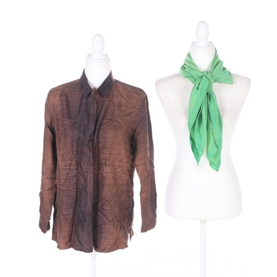 Etro Silk Shirt and Saks Fifth Avenue Silk Handkerchief Scarf