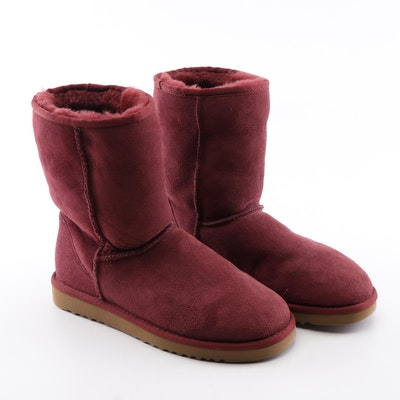 UGG Australia Sheepskin and Shearling Classic Short Boots in Burgundy Red