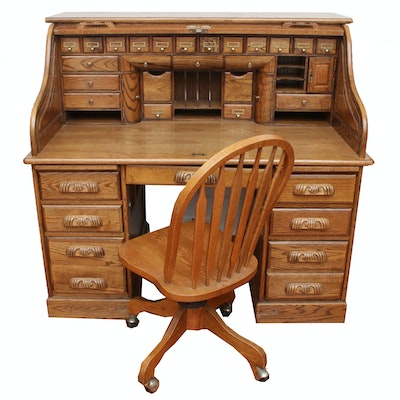 Oak Roll-Top Desk with Chair, Vintage