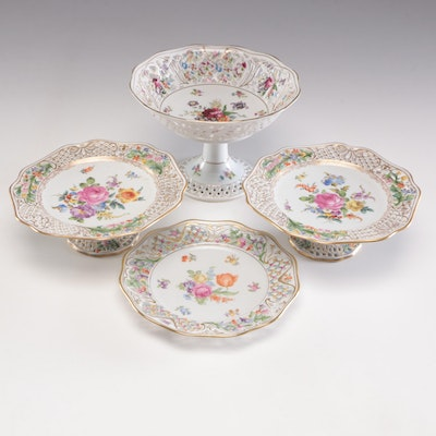 Dresden Reticulated Porcelain Serveware, Early-Mid 20th Century