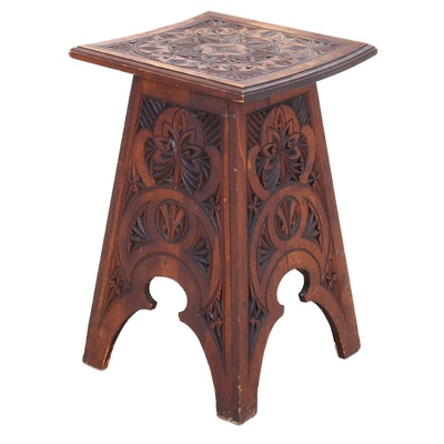Folk Carved Wood Side Table, Mid-20th Century