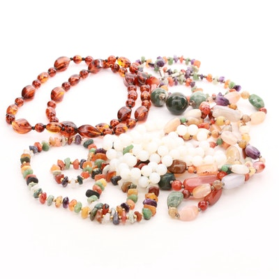 Agate, Amethyst, Quartz and Amber Beaded Necklace Assortment