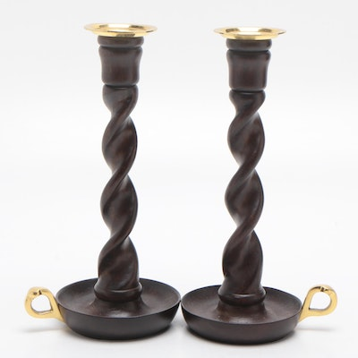 Barley Twist Wood and Brass Candlesticks, Contemporary