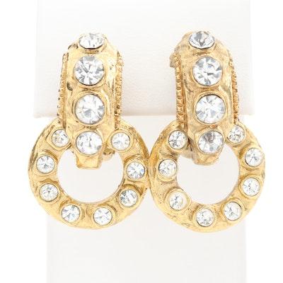 Chanel Rhinestone Clip-On Hoop Earrings