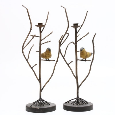 Folk Art Style Metal Branch Candlesticks with Birds, Late 20th Century