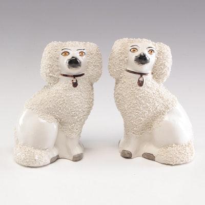 Staffordshire Style Ceramic Confetti Coat Poodle Figurines