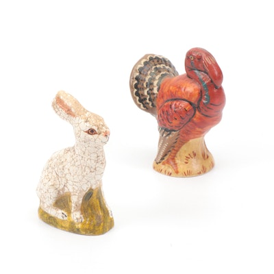 Vaillancourt Folk Art Hand-Painted Chalkware Rabbit and Turkey Figurines