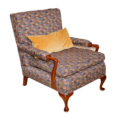 Queen Anne Style Upholstered Armchair, Late 20th Century