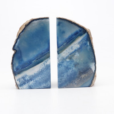 Dyed Blue Geode Slice Bookends, Late 20th Century