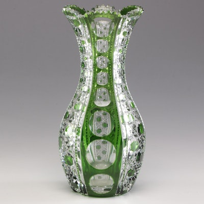 Crystal Green Cut to Clear Vase, Mid to Late  20th Century