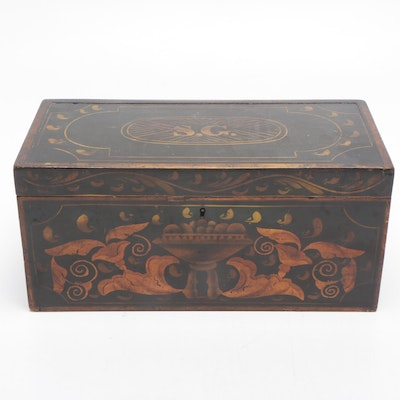 Hand-Painted Tole Wood Document Box, Mid-Late 19th Century