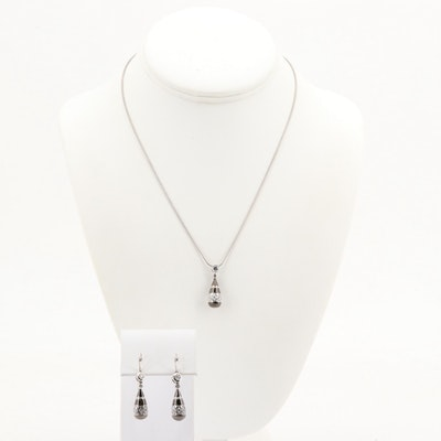 Sterling Silver Enamel and Cubic Zirconia Pendant Necklace and Earrings