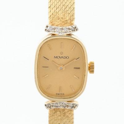 Movado 14K Yellow Gold Quartz Wristwatch With Diamond Lugs