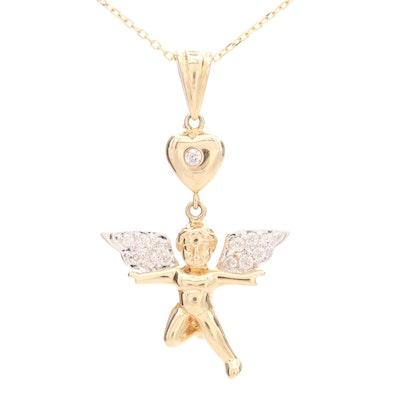14K Yellow Gold Diamond Baby Angel Pendant Necklace