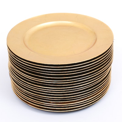 Gold Tone Lacquer Charger Plates, Set of 20