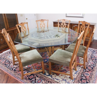 Chinese Inspired Glass Top Dining Table and Chairs