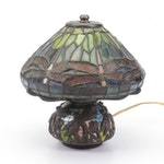 Slag Glass Boudoir Lamp with Dragonfly Motif, Contemporary
