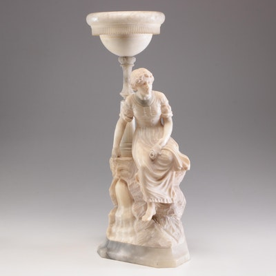Carved Figural Alabaster Torchiere Table Lamp, circa 1920s