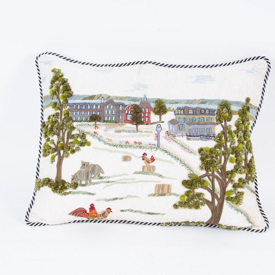 "MacKenzie-Childs ""Aurora Farm"" Needlepoint Accent Pillow"
